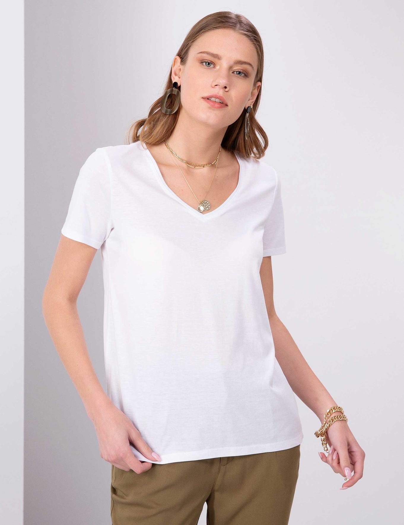 Beyaz Regular Fit V Yaka T-Shirt