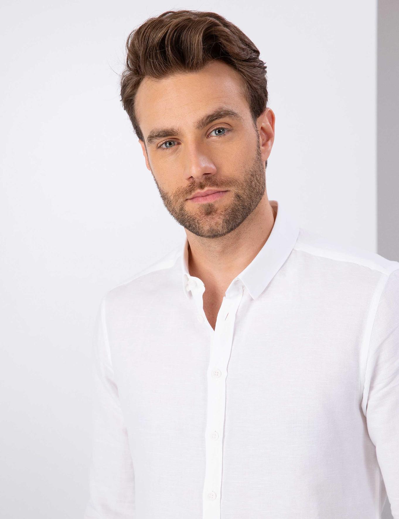 Beyaz Slim Fit Keten Karışımlı Gömlek