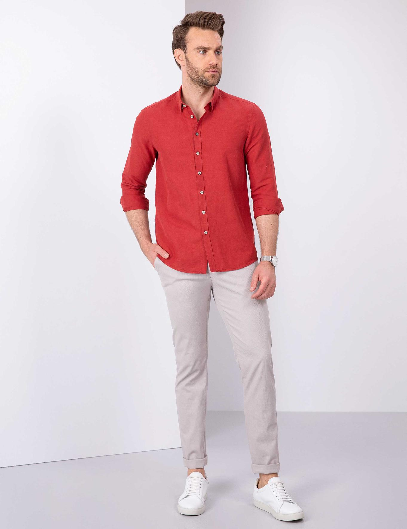 Slim Kırmızı Gömlek