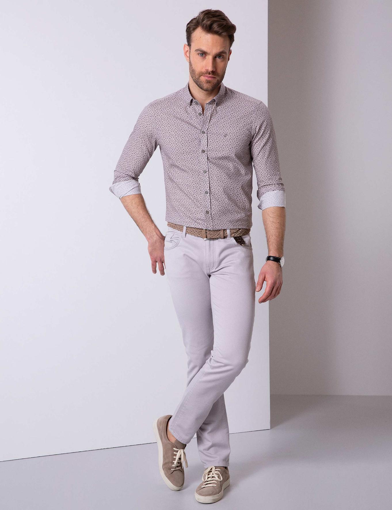 Açık Gri Slim Fit Gömlek