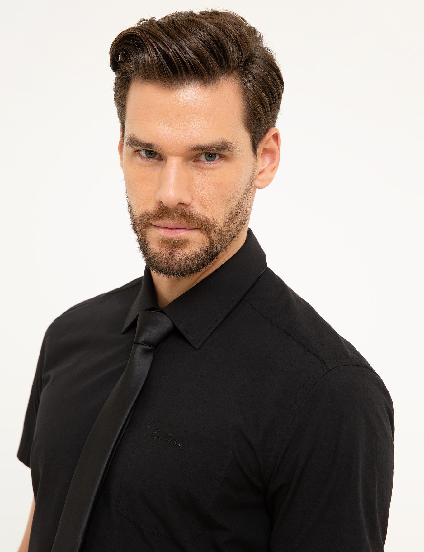 Siyah Regular Fit Kısakol Gömlek