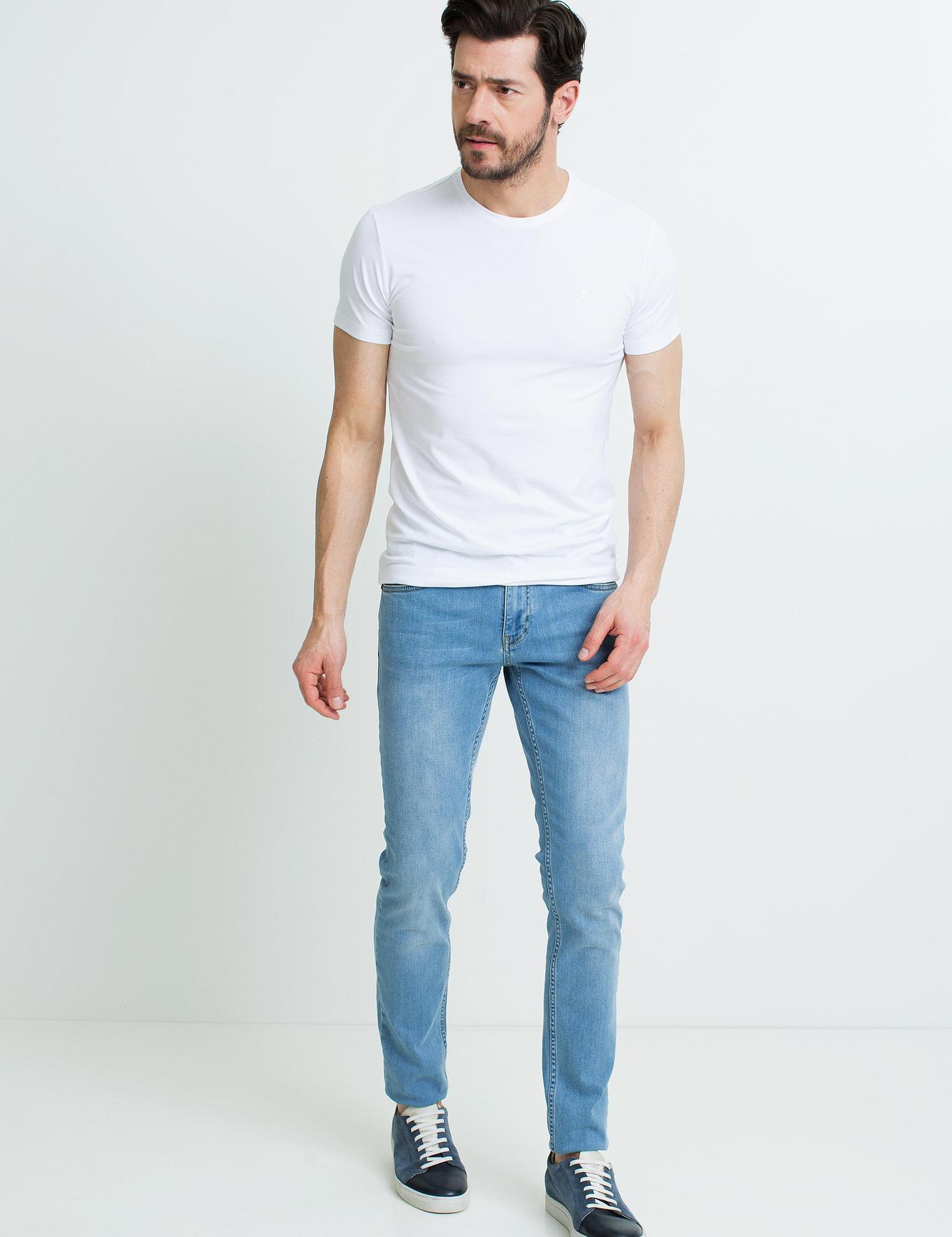 Beyaz Ex.Slim Fit Bisiklet Yaka T-Shirt