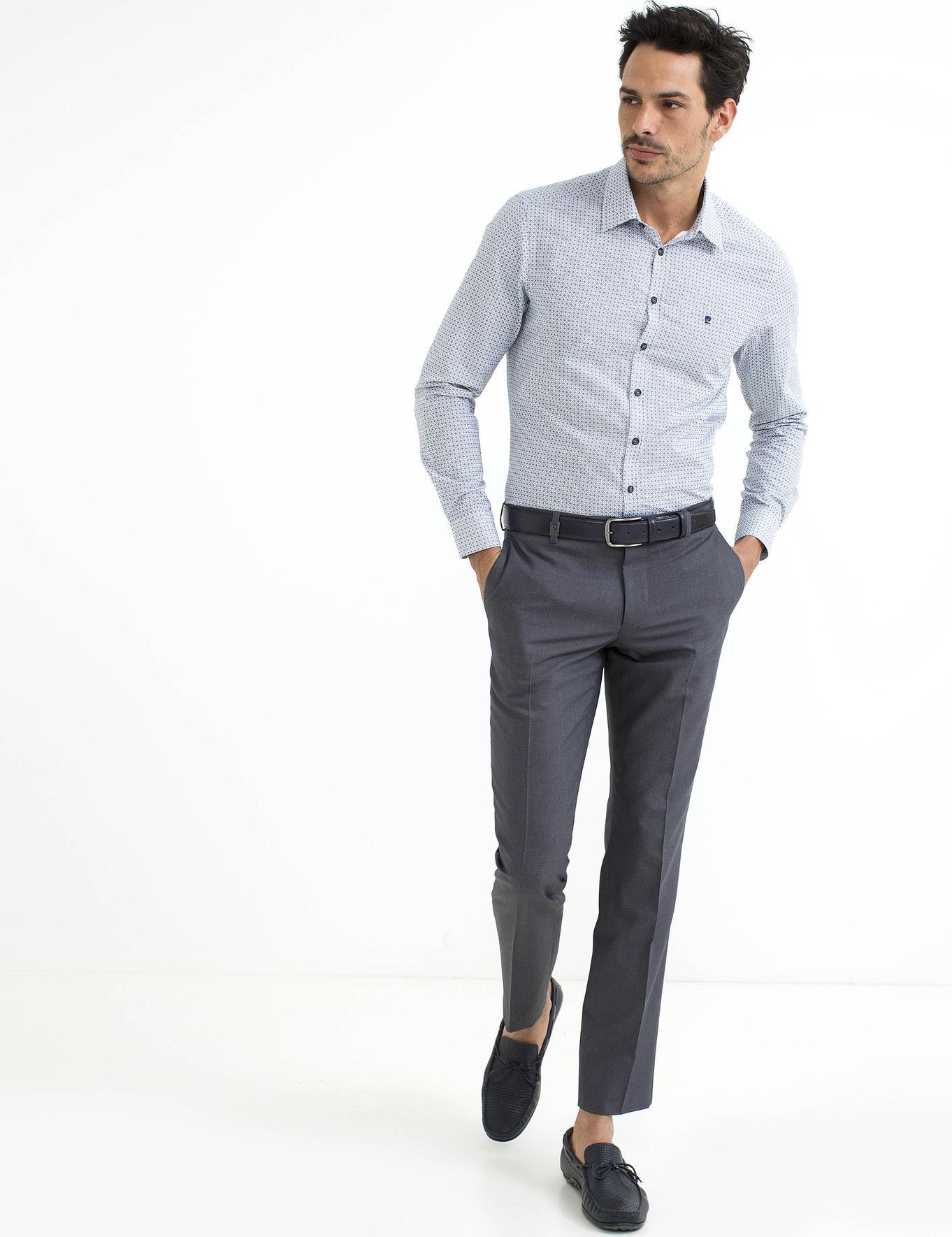Siyah Detaylı Slim Fit Gömlek