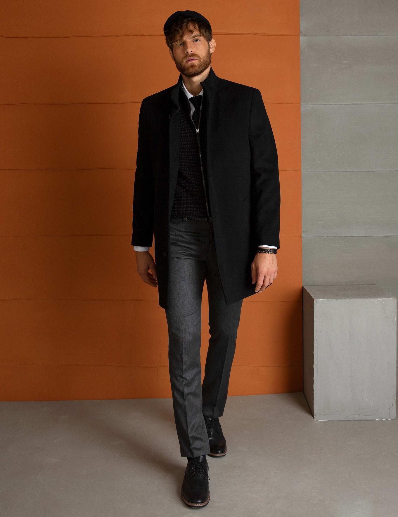 Siyah Slim Fit Palto