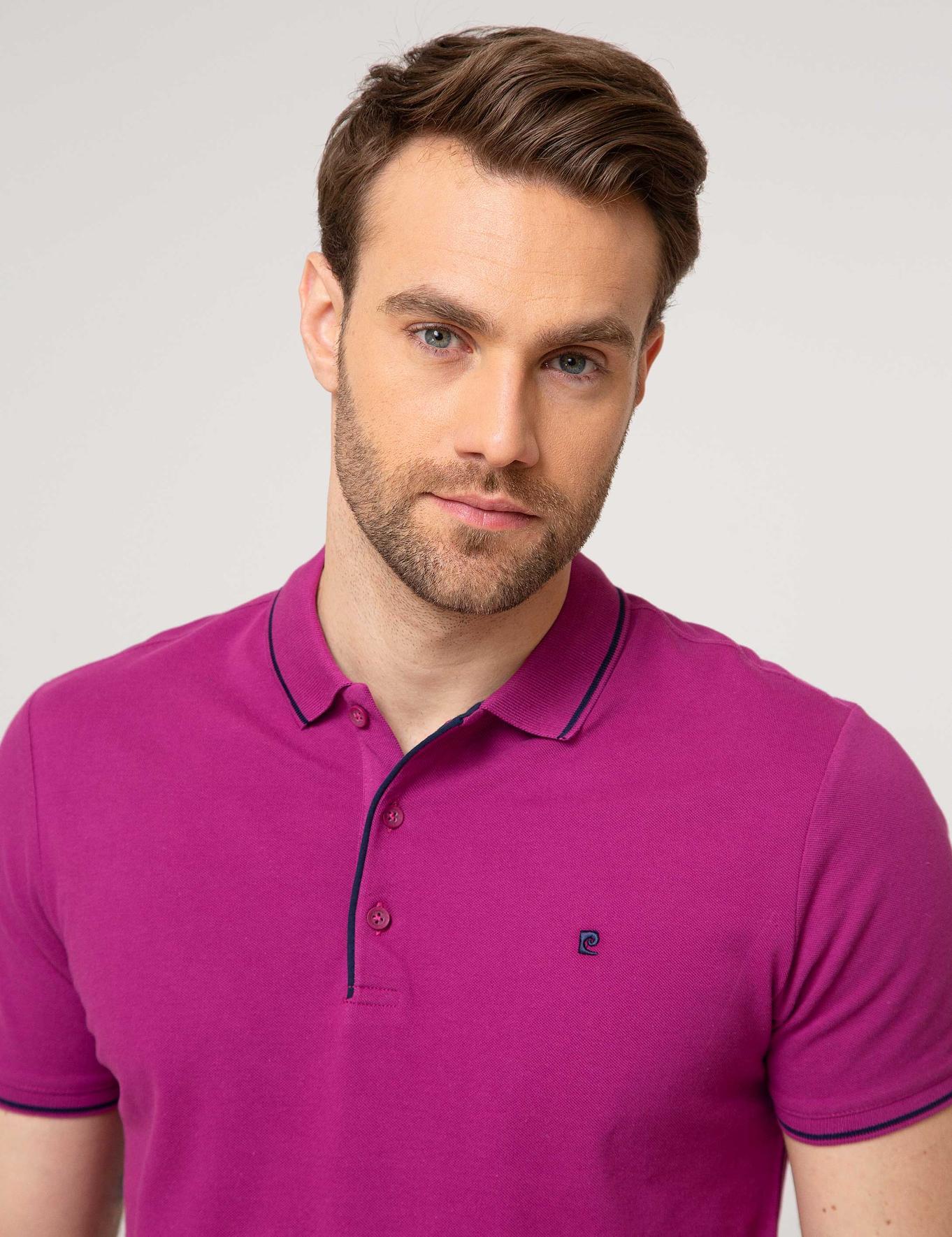 Fuşya Slim Fit Polo Yaka T-Shirt