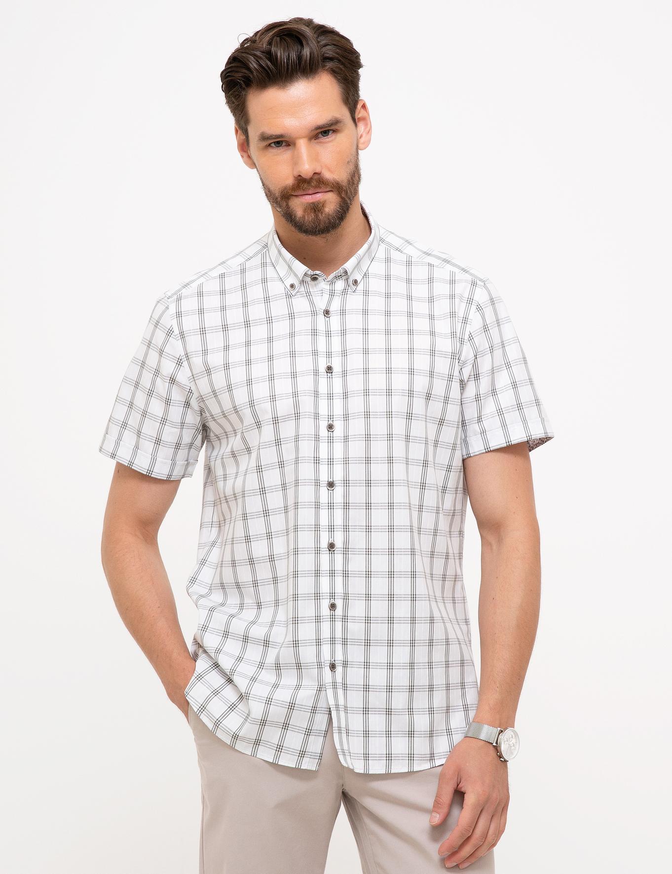 Yeşil Detaylı Beyaz Slim Fit Kısakol Gömlek