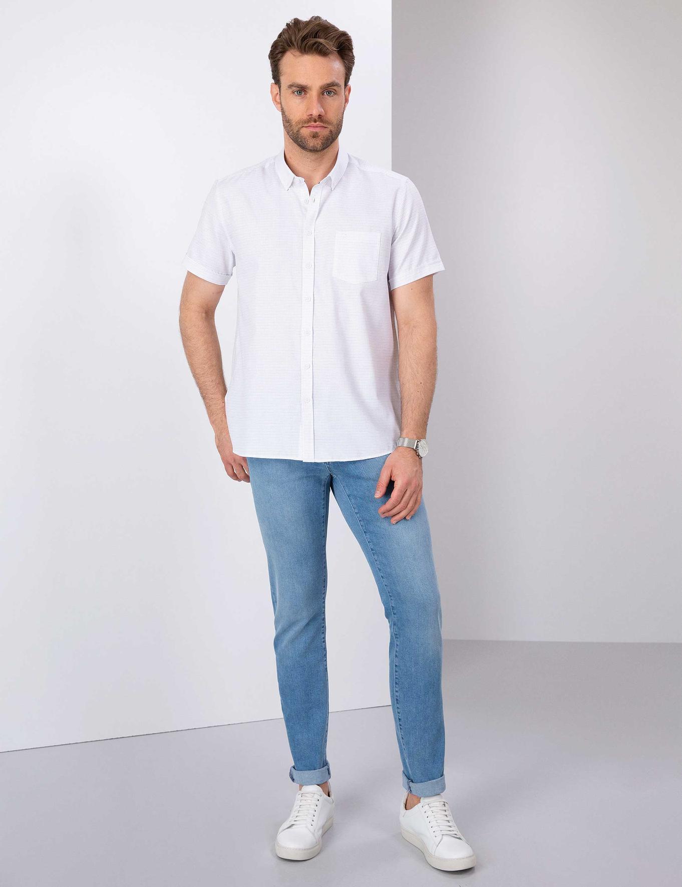 Beyaz Regular Fit Kısa Kollu Gömlek