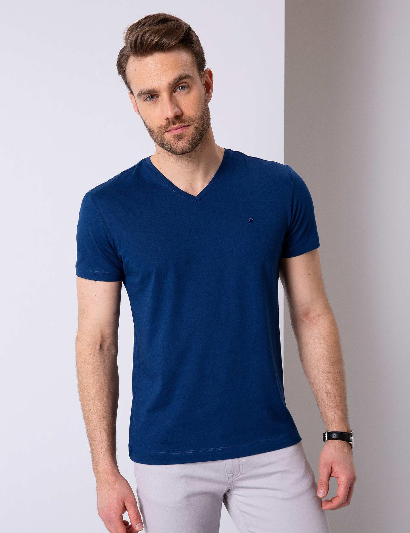 Lacivert Slim Fit V Yaka T-Shirt