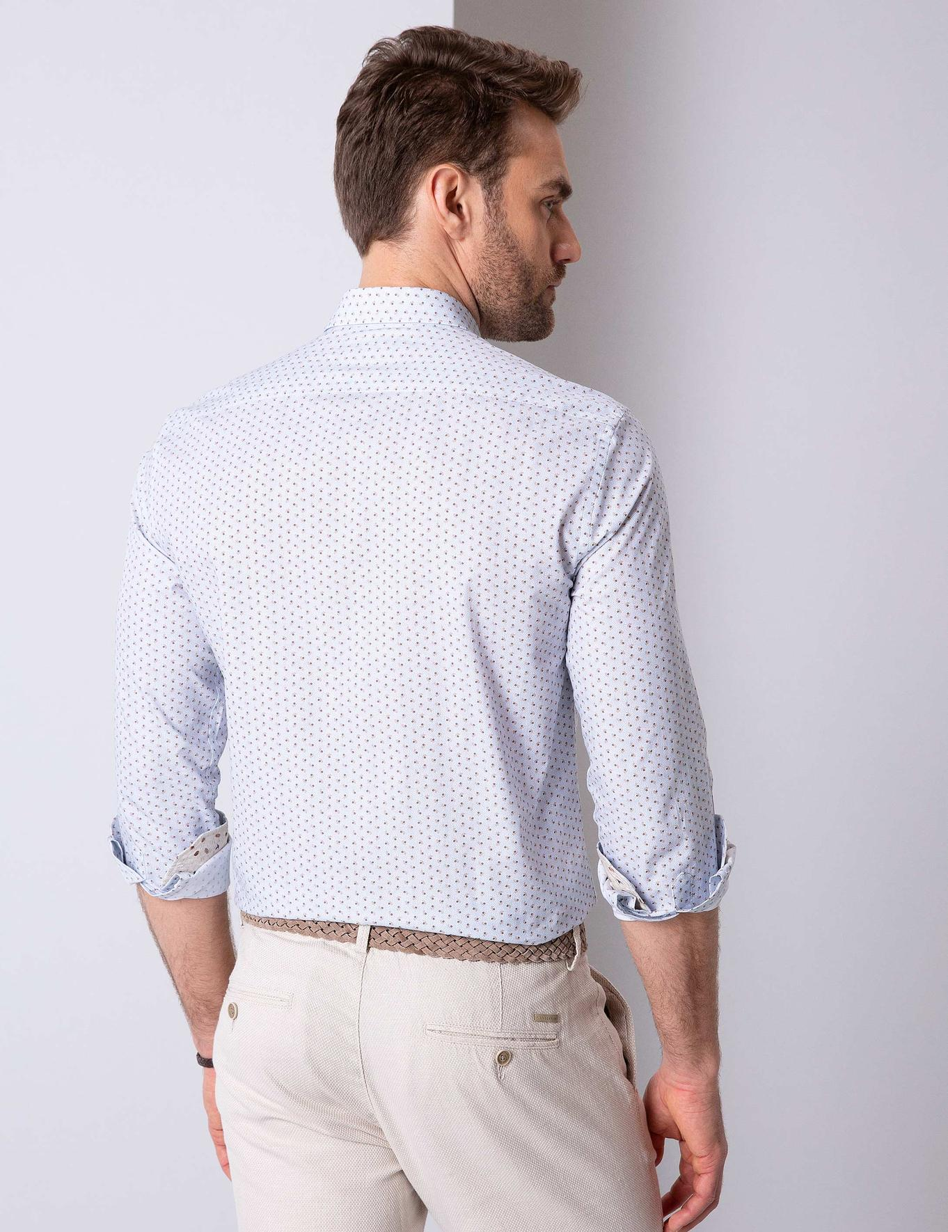 Bej Detaylı Slim Fit Gömlek