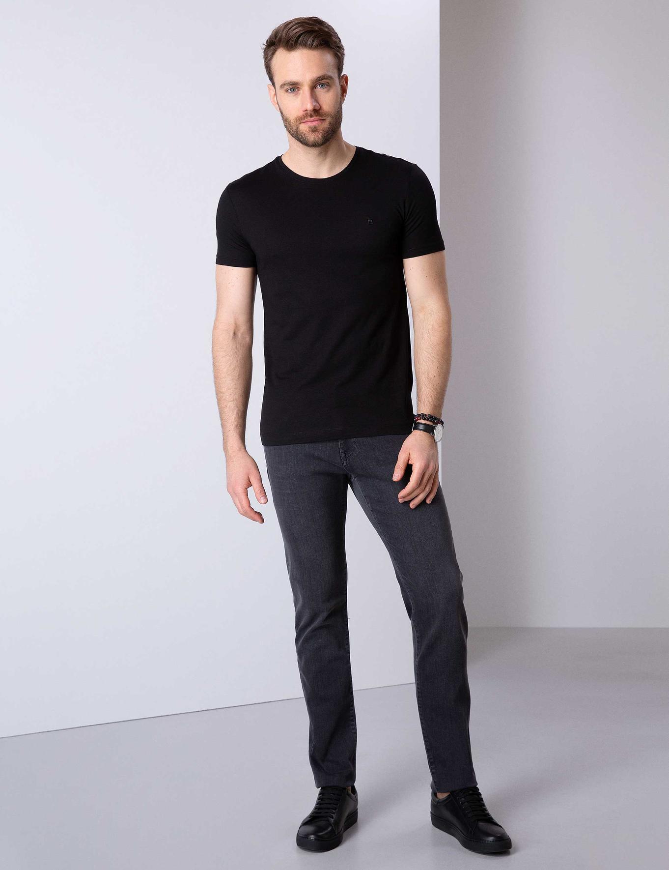 Siyah Slim Fit Bisiklet Yaka Basic T-Shirt