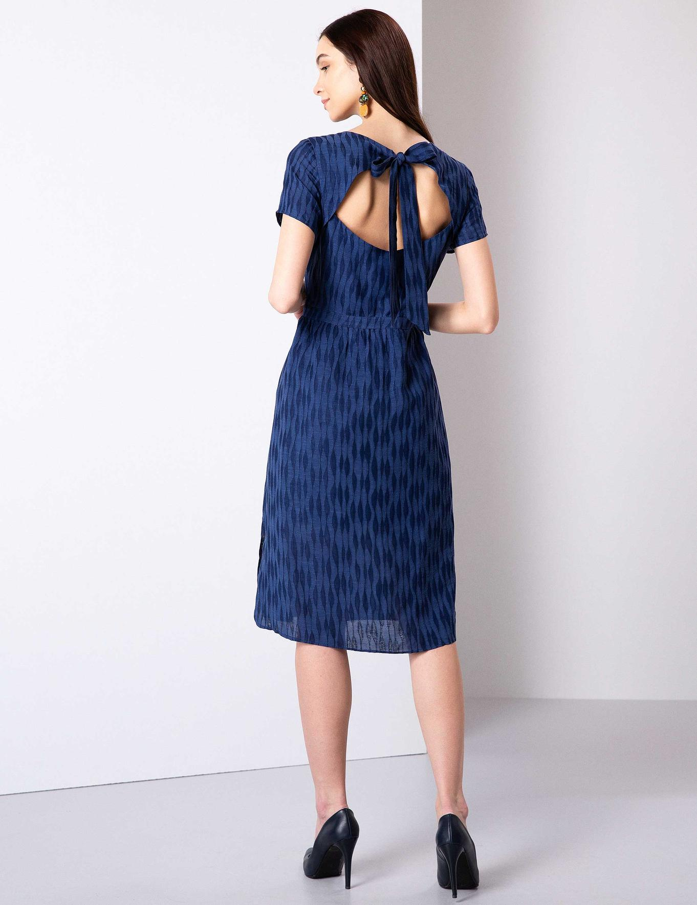 Lacivert Standart Fit Armürlü Elbise