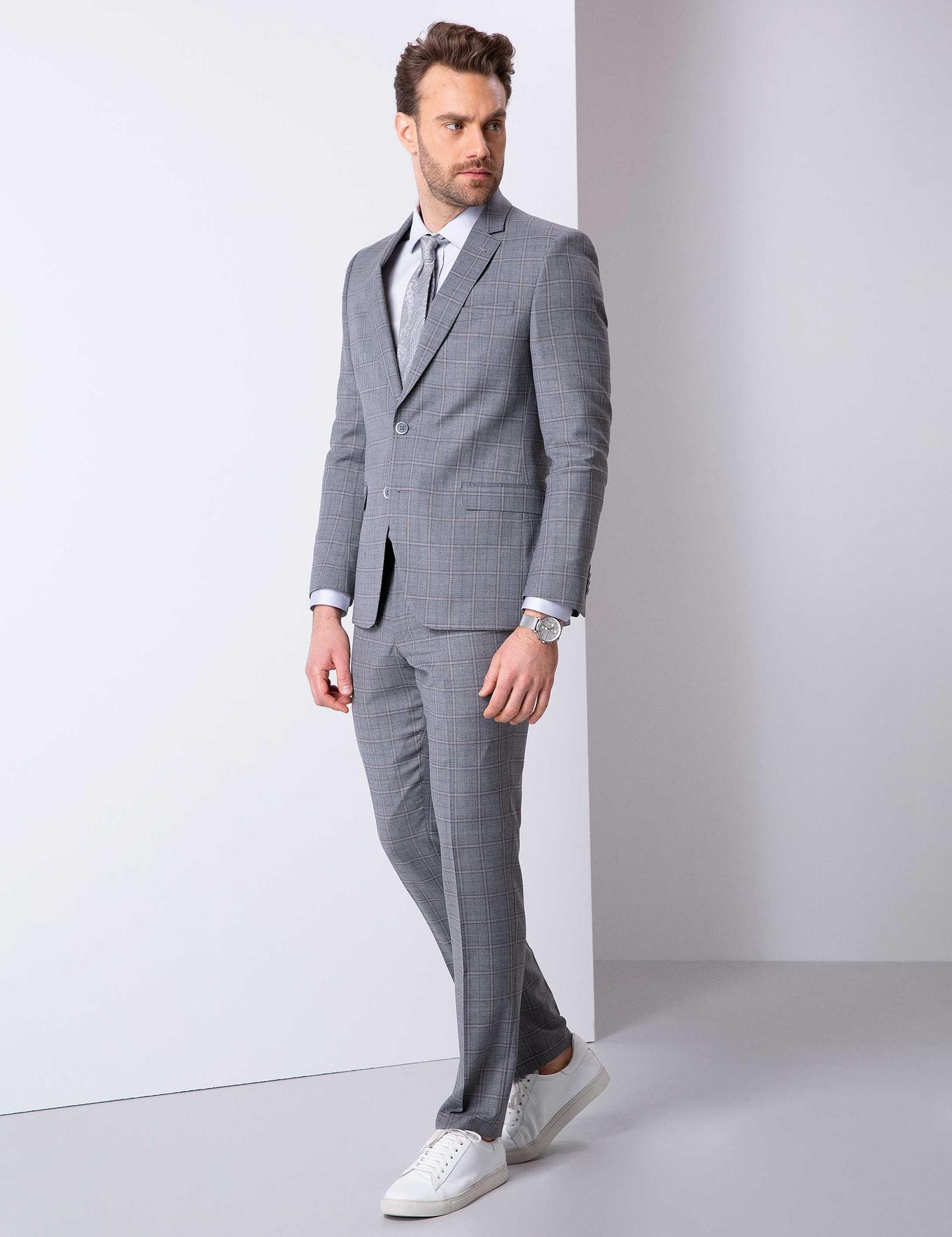 Gri Slim Fit Takım Elbise