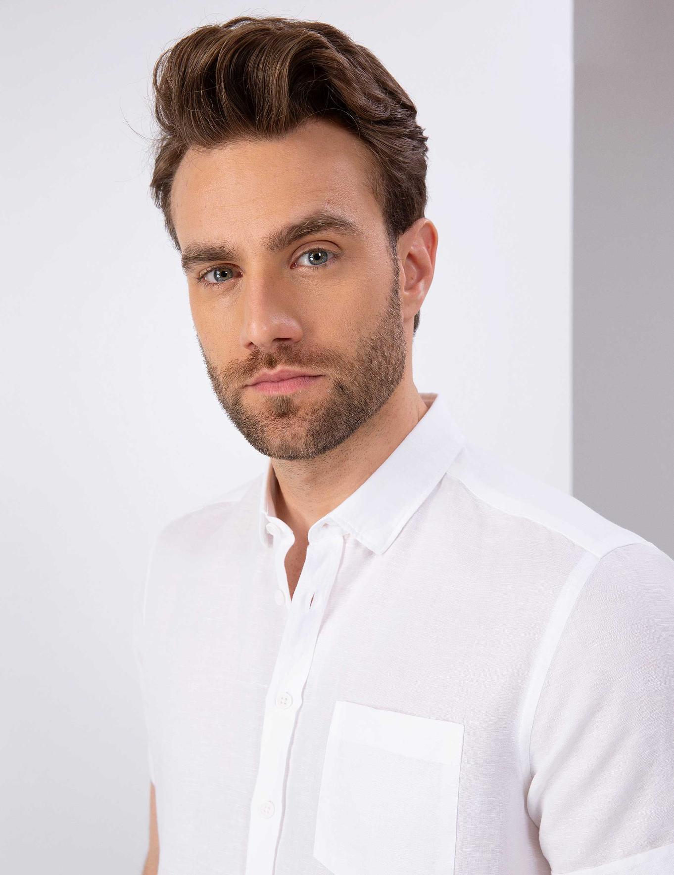 Beyaz Slim Fit Kısakol Gömlek