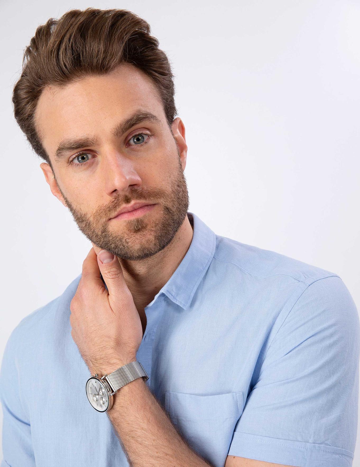 Açık Mavi Slim Fit Kısakol Gömlek