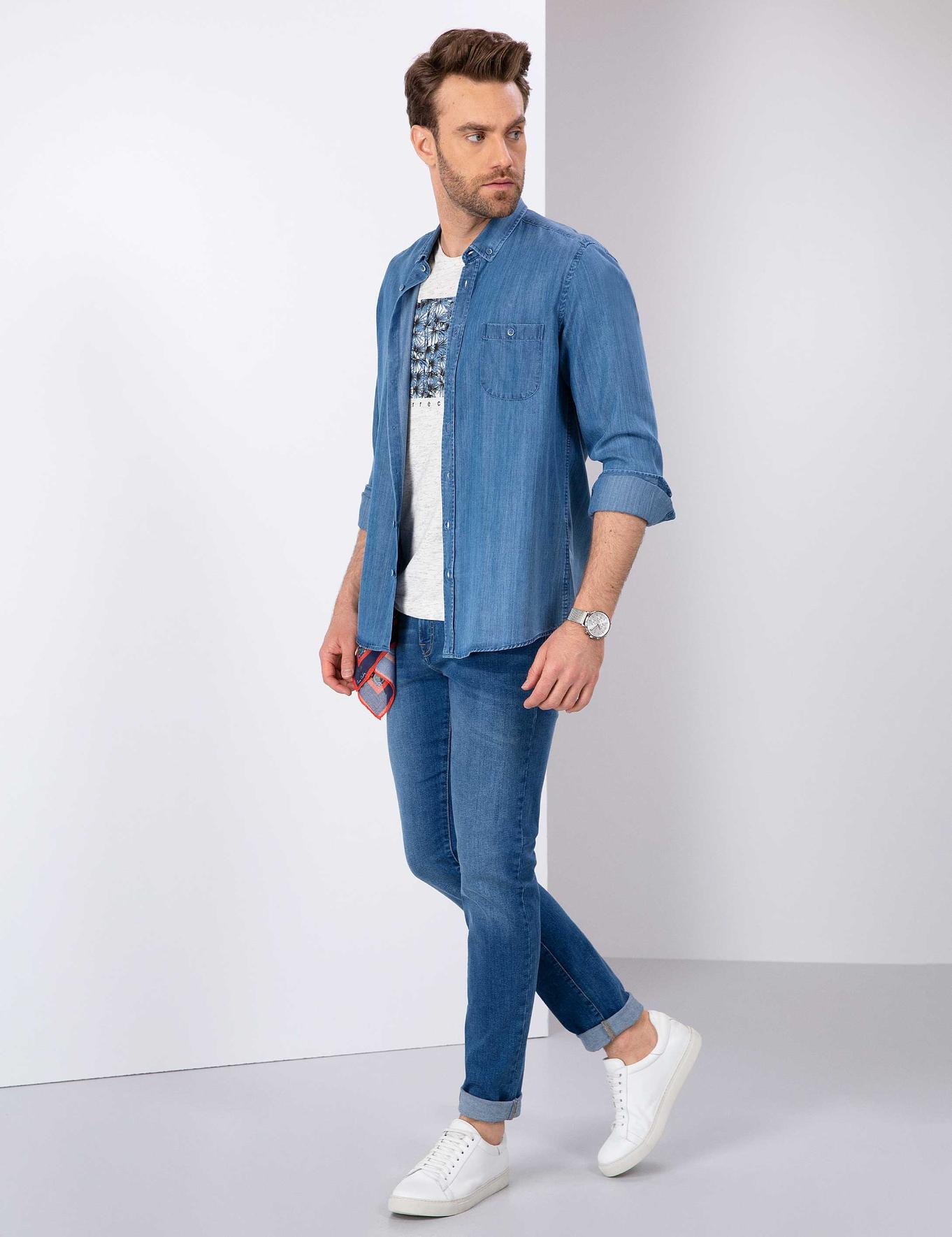Açık Lacivert Slim Fit Denim Pantolon