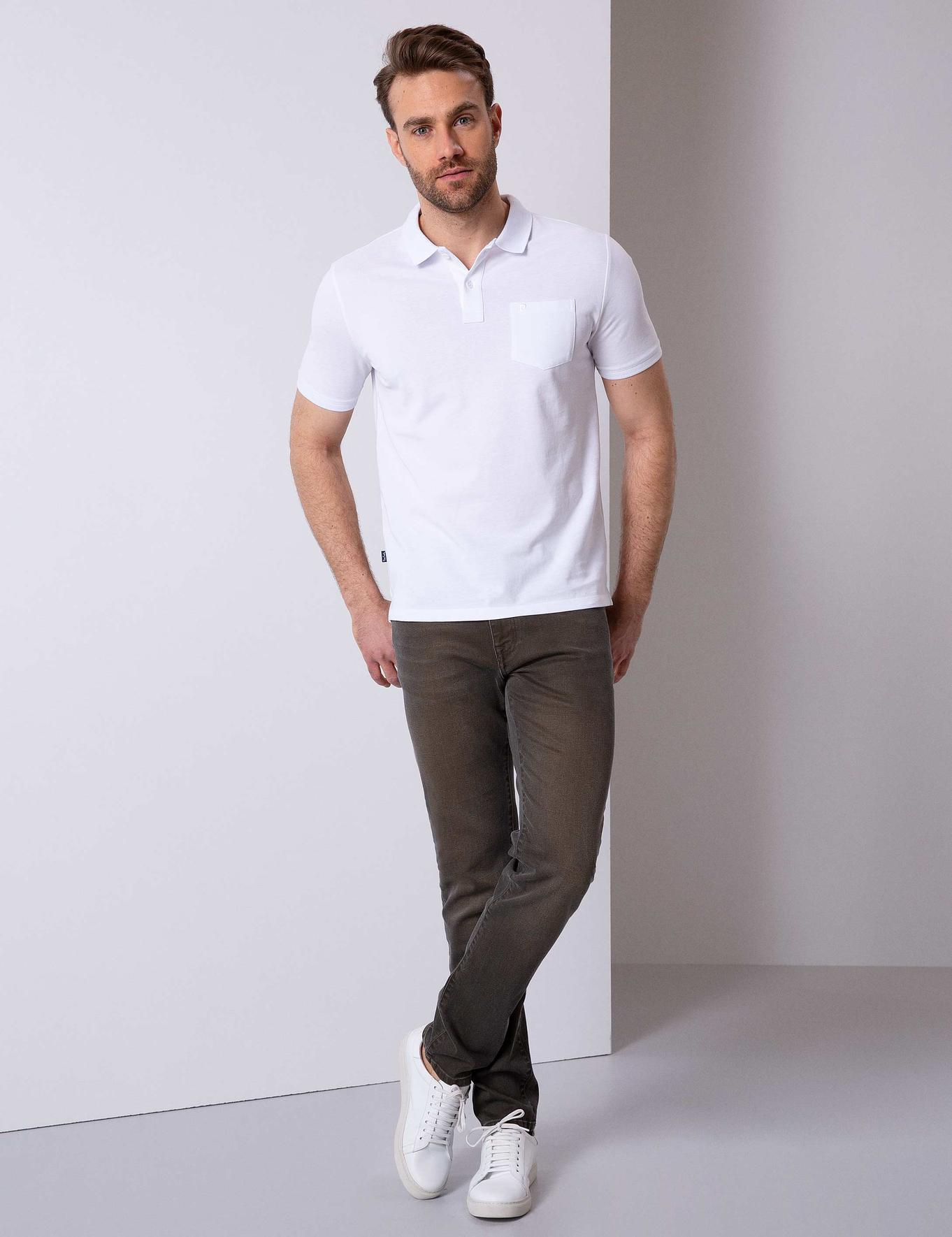 Beyaz Regular Fit Polo Yaka T-Shirt
