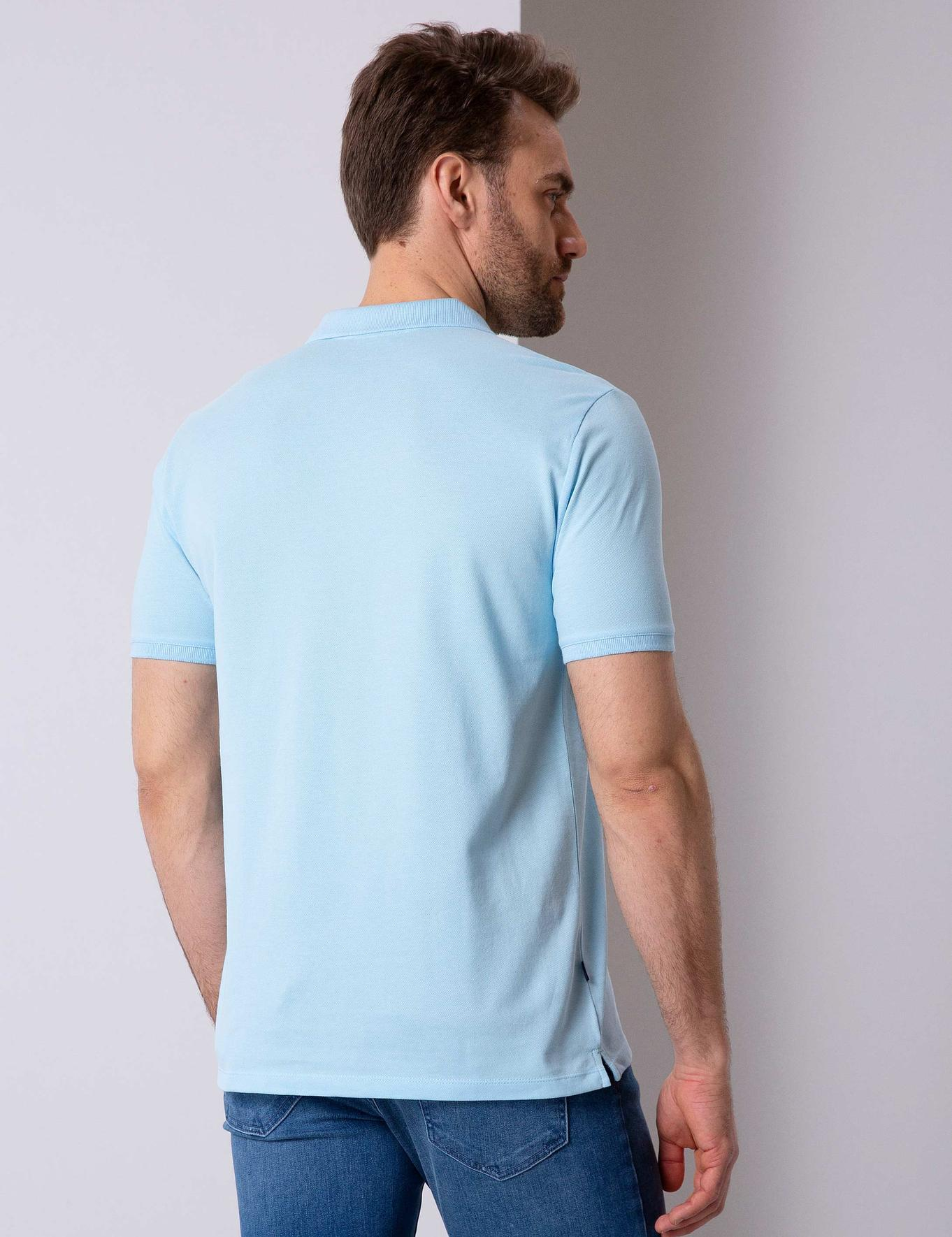 Açık Mavi Regular Fit Basic Polo Yaka T-Shirt