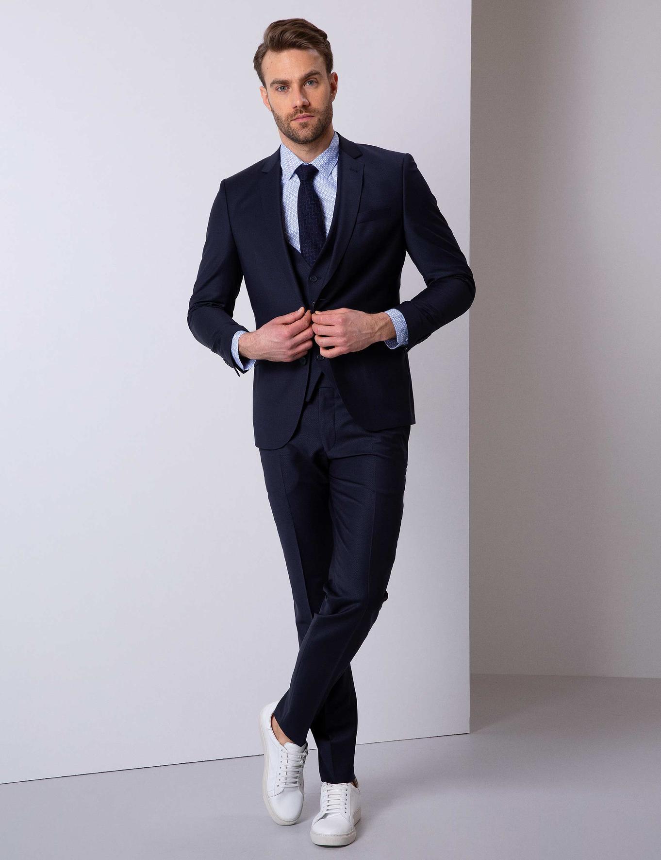 Lacivert Ekstra Slim Fit Yelekli Takım Elbise