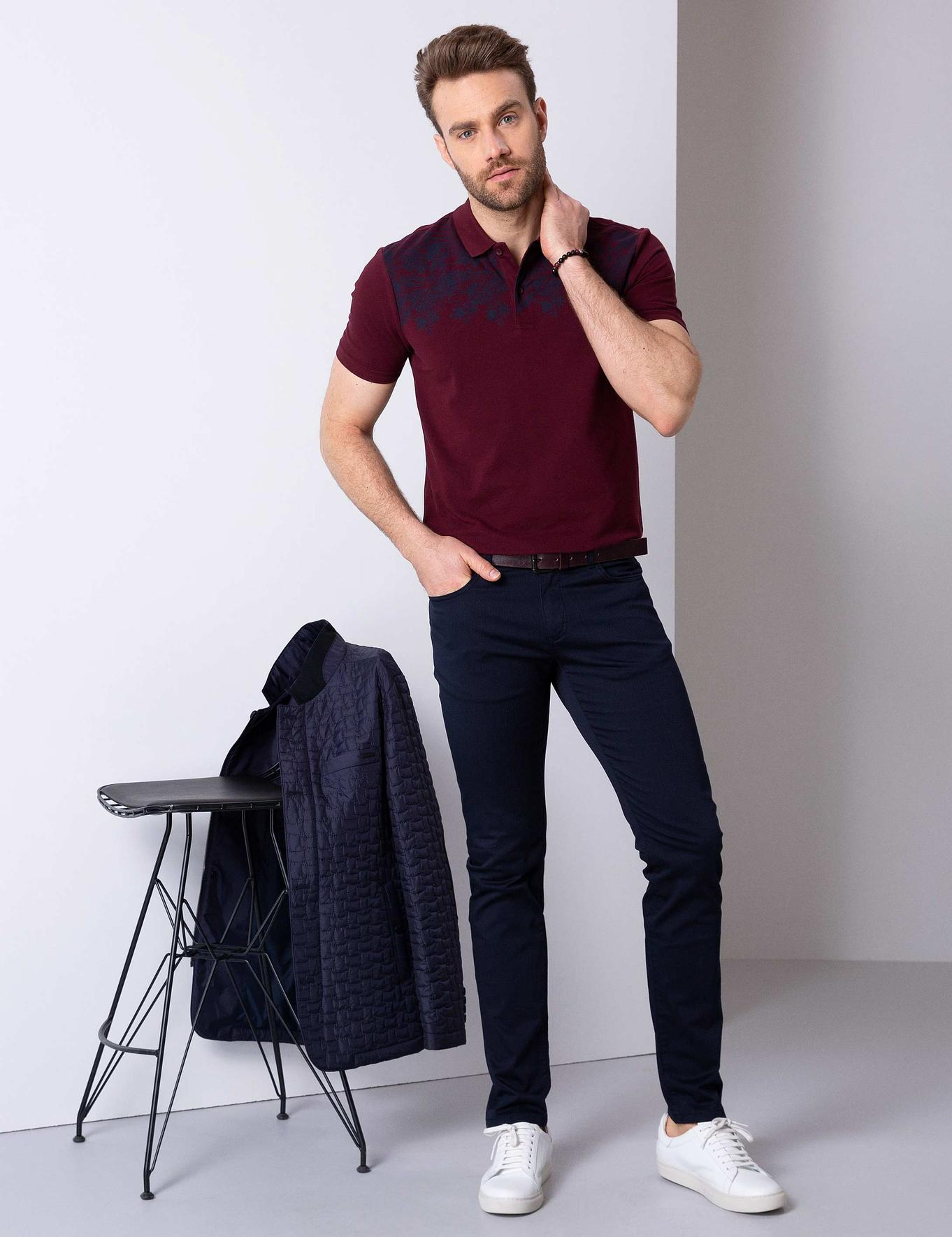 Bordo Slim Fit Polo Yaka T-Shirt