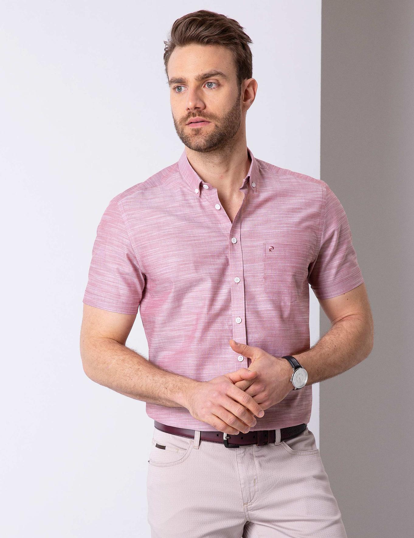 Pembe Regular Fit Kısa Kollu Gömlek