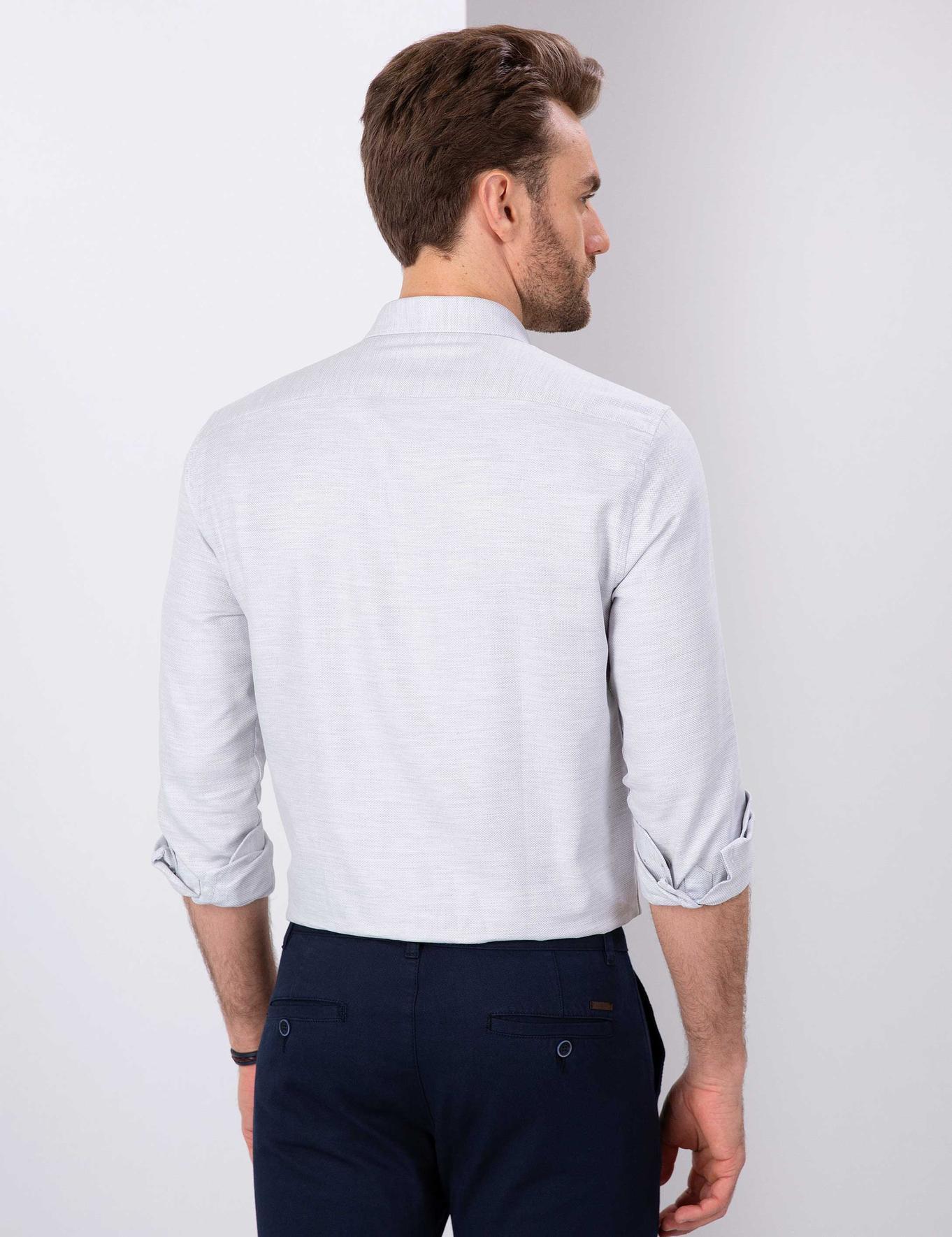 Gri Slim Fit Oxford Gömlek