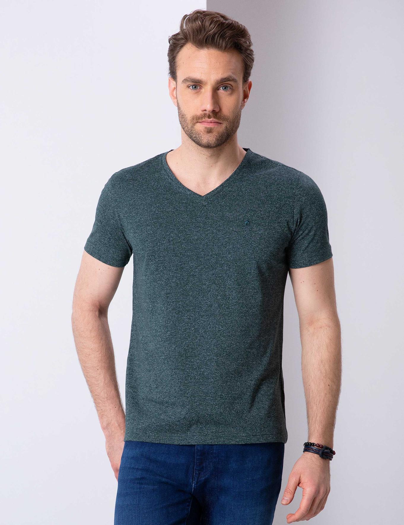 Koyu Yeşil Slim Fit V Yaka T-Shirt