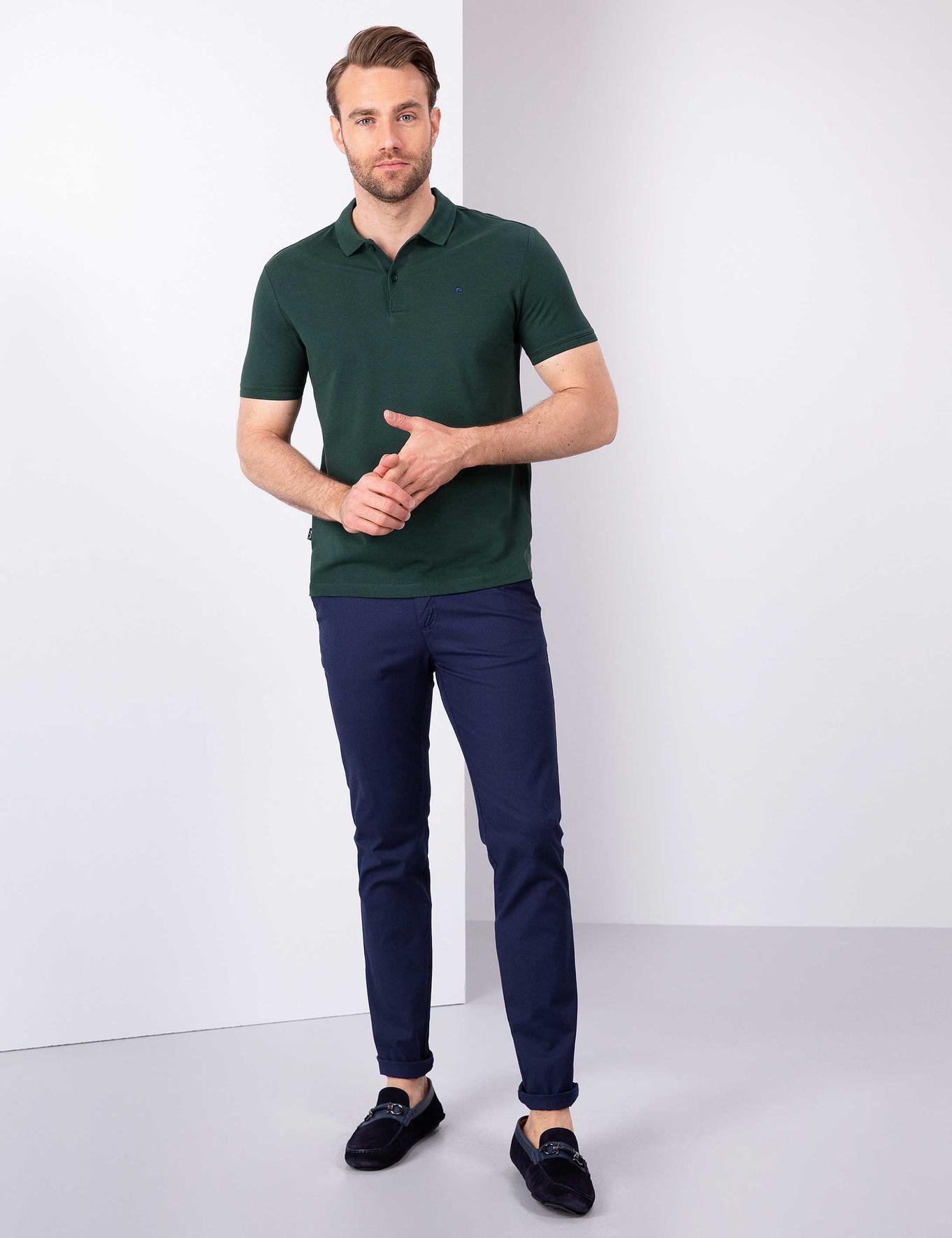 Koyu Yeşil Slim Fit Basic Polo Yaka T-Shirt