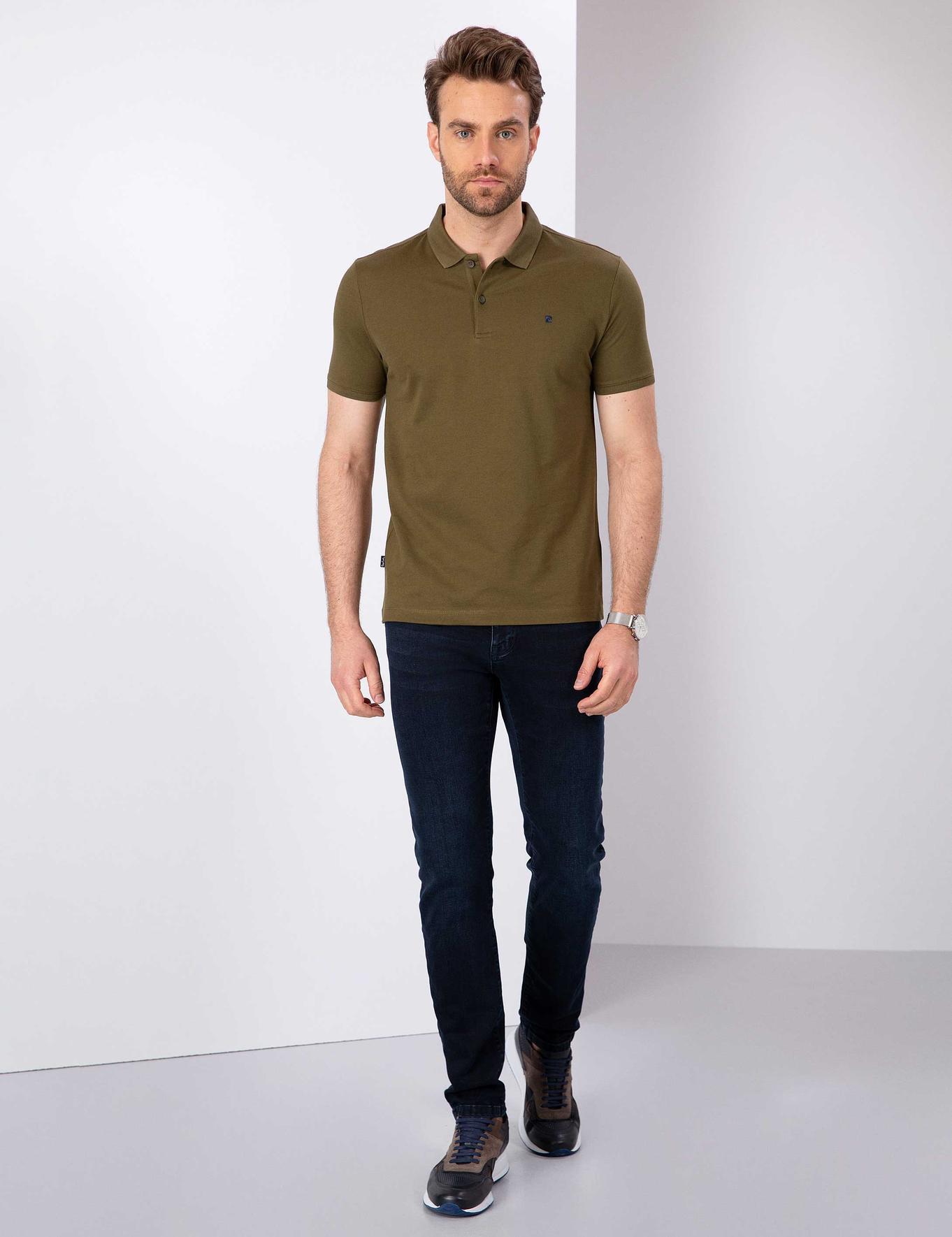 Haki Slim Fit Polo Yaka T-Shirt