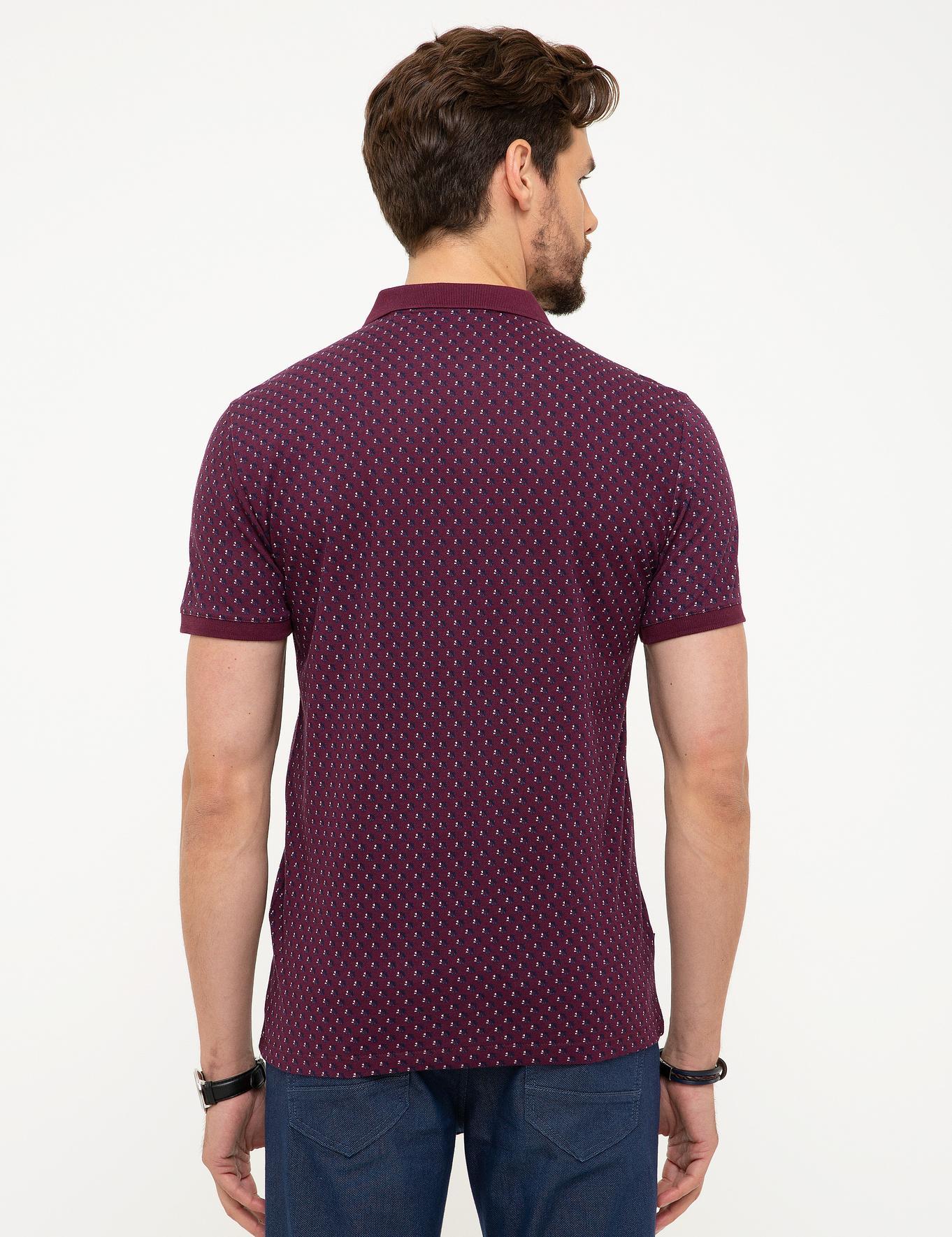 Bordo Slim Fit Polo Yaka T-Shirt