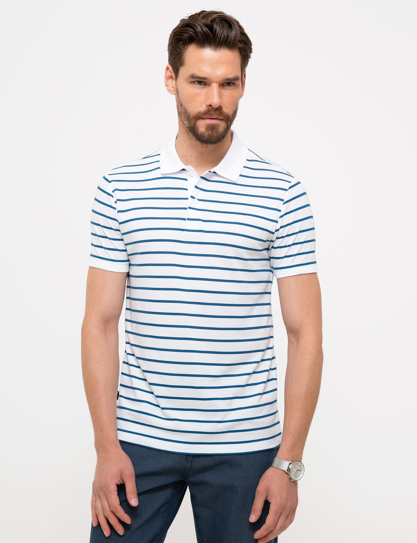 Beyaz Slim Fit Polo Yaka T-Shirt