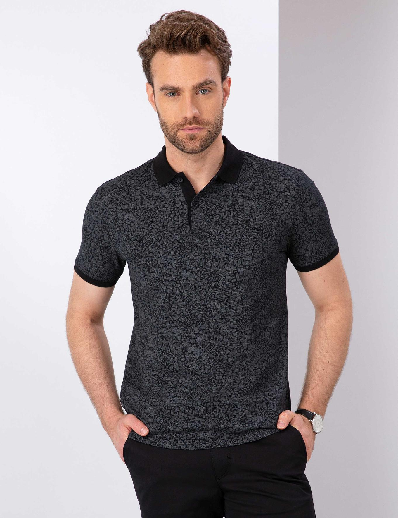 Siyah Slim Fit Polo Yaka T-Shirt