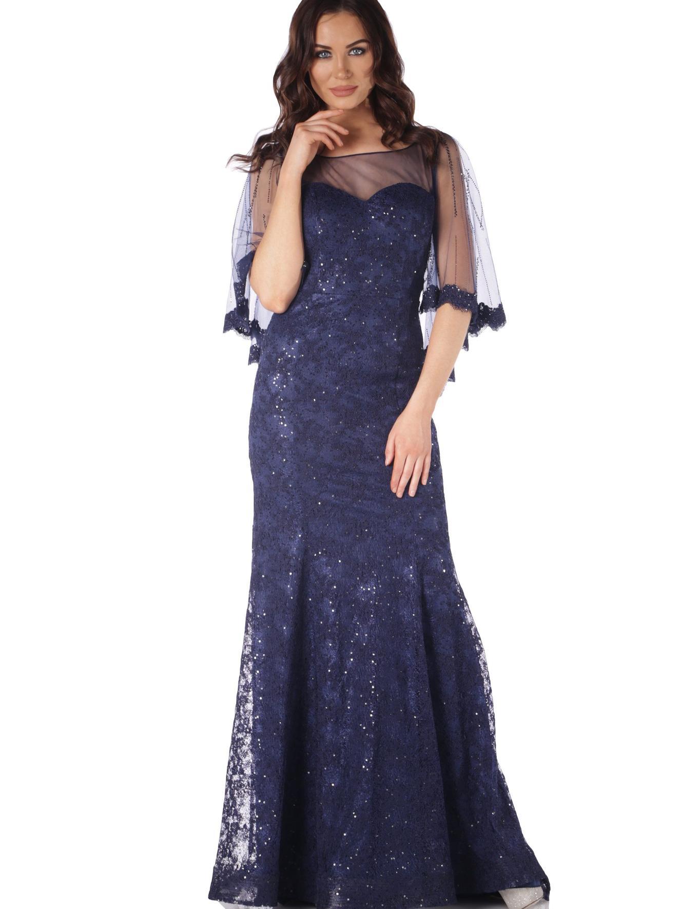 LACIVERT Balık Abiye Elbise