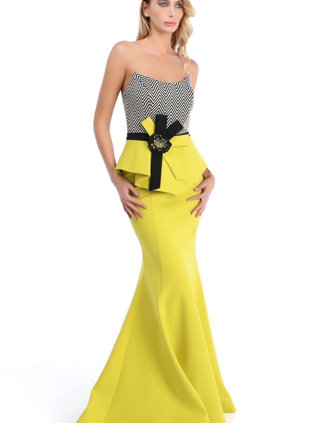 SARI İkili Takım Balık Abiye Elbise