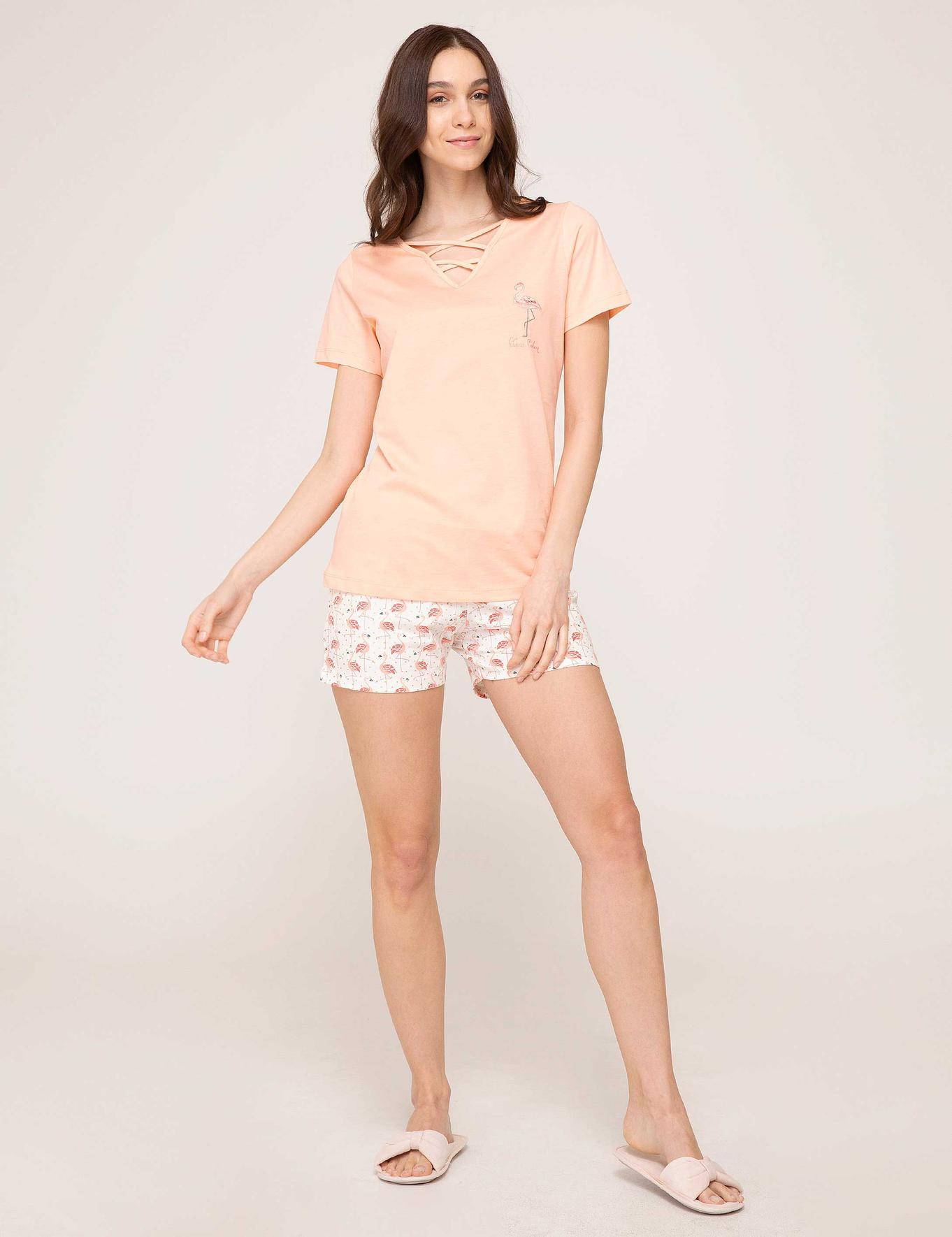 Turuncu Şortlu Pijama Takımı