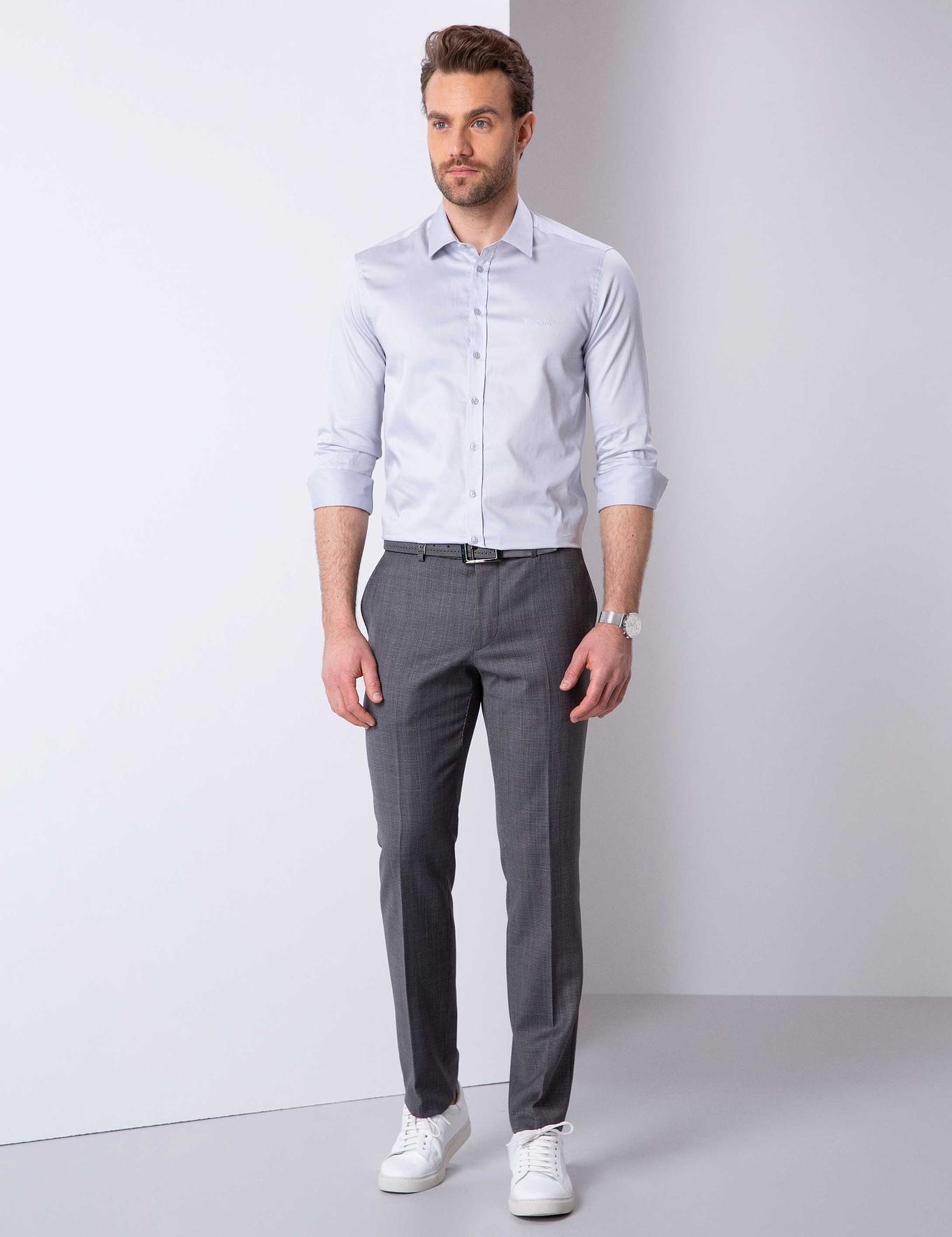 Gri Slim Fit Klasik Pantolon