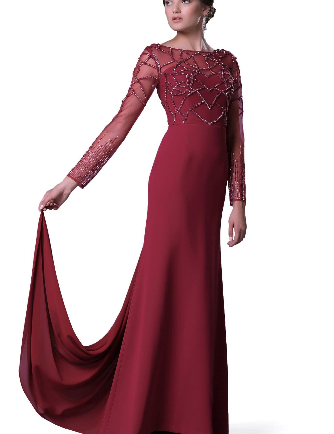 KIRMIZI Uzun Abiye Elbise