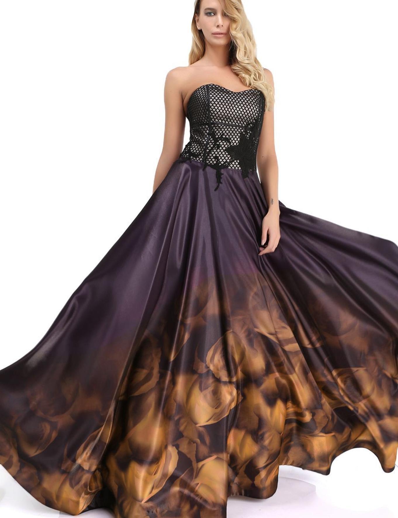 KAHVERENGI Kabarık Abiye Elbise