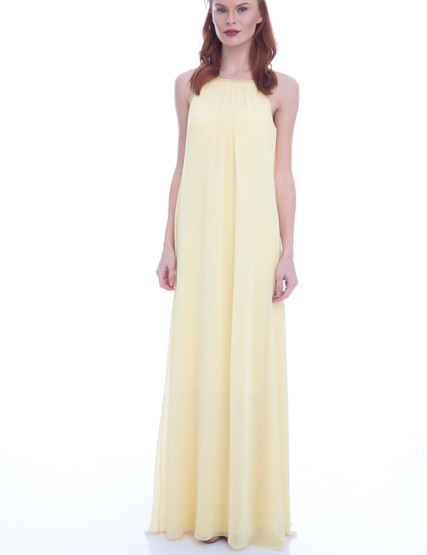 SARI Uzun Abiye Elbise