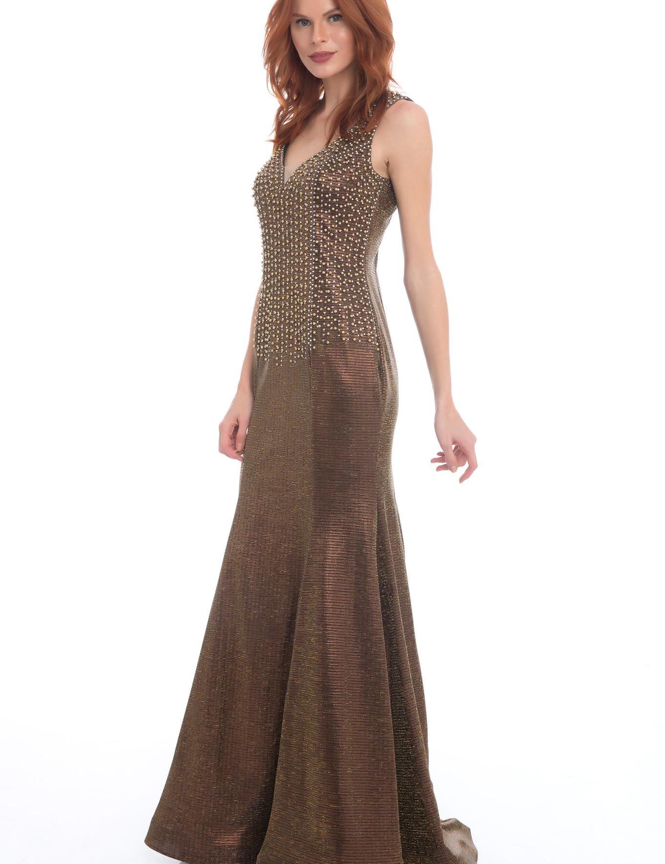 KAHVERENGI Balık Abiye Elbise
