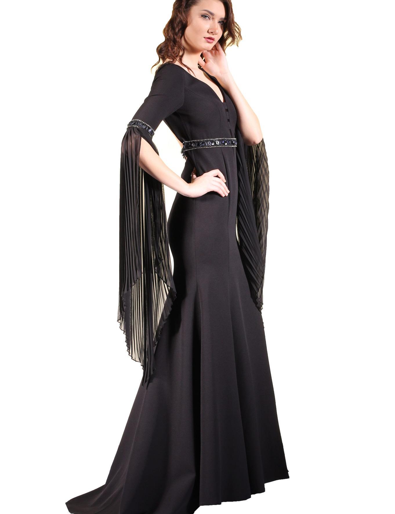 SIYAH Balık Abiye Elbise