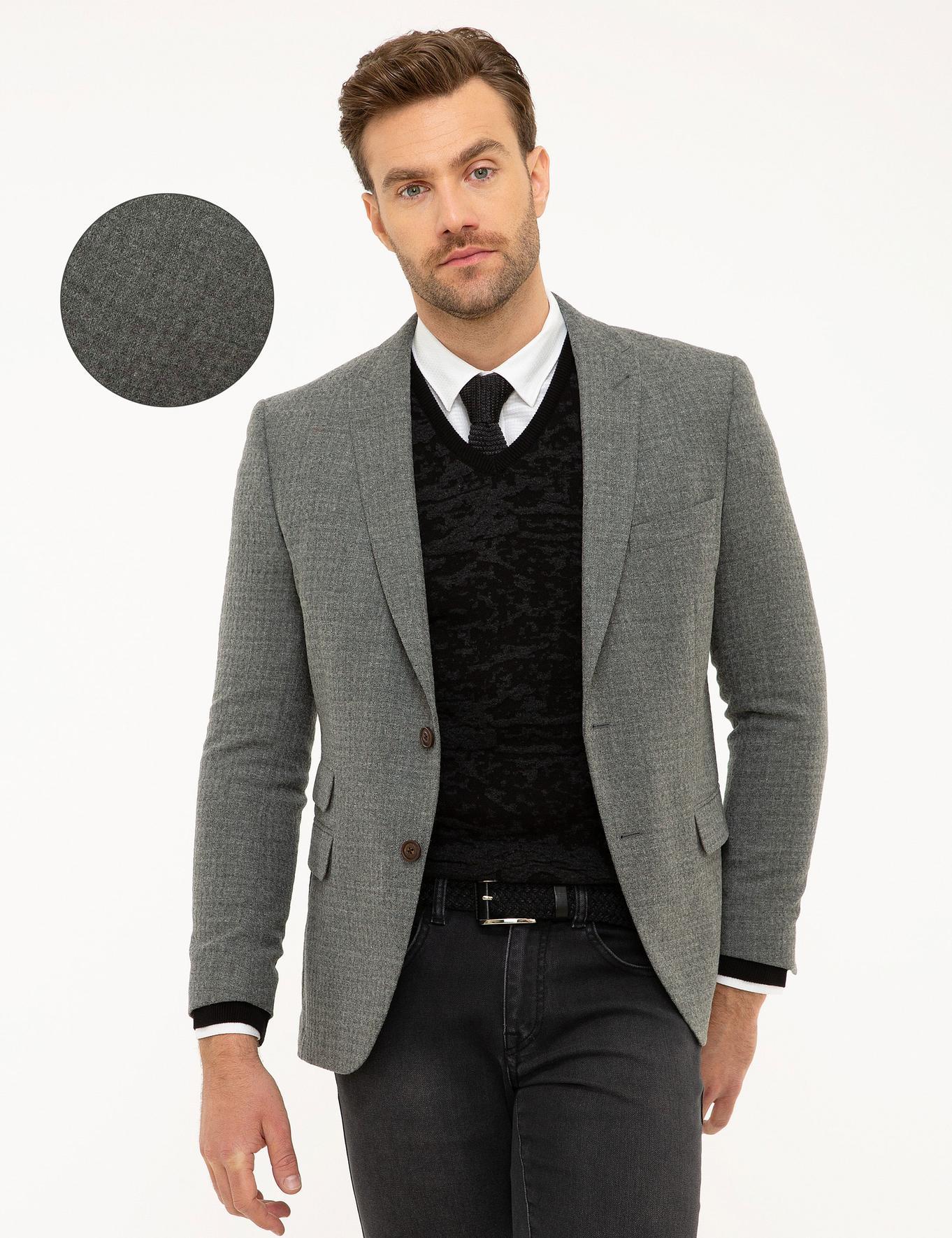 Gri Ekstra Slim Fit Ceket