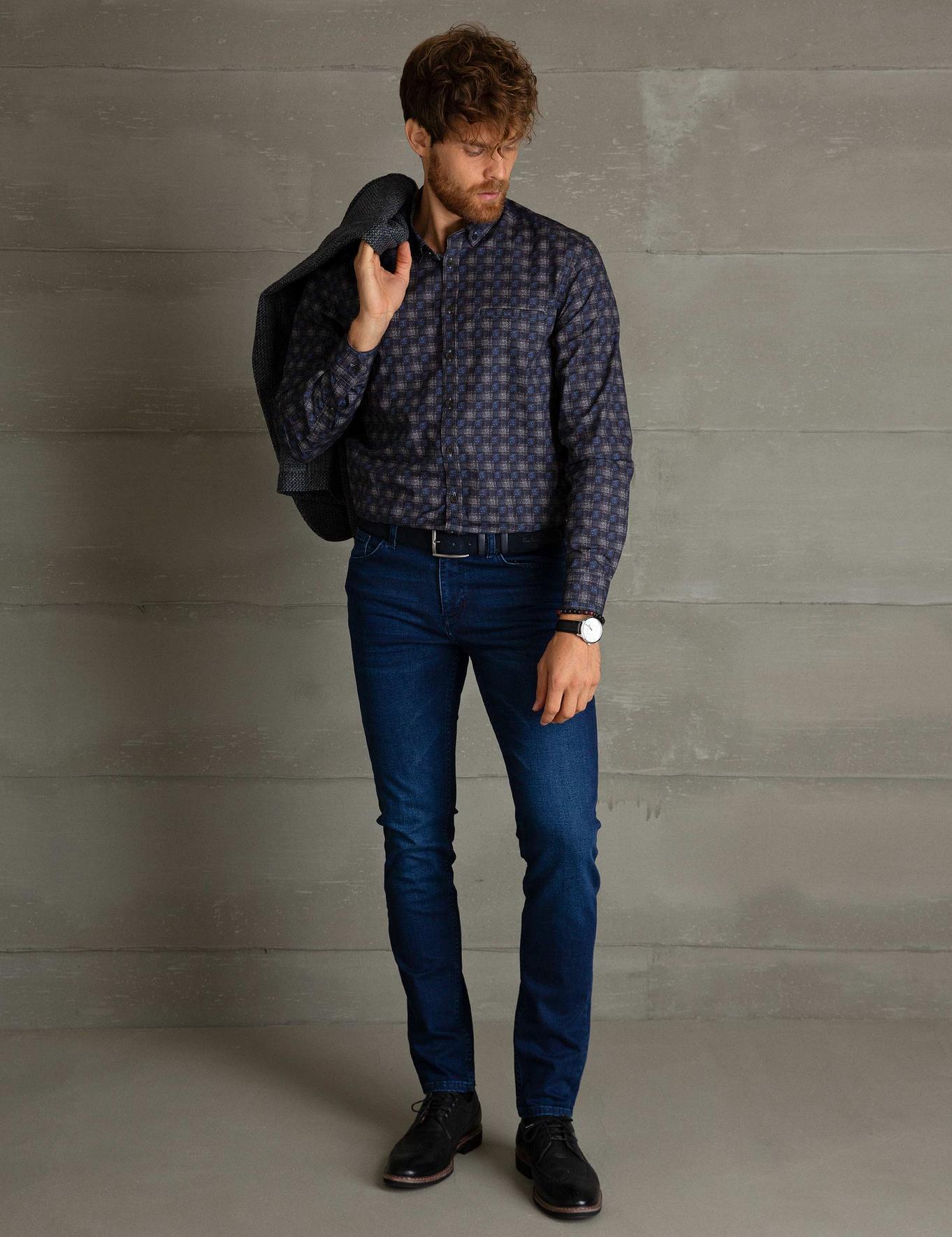 Koyu Mavi Regular Fit Gömlek