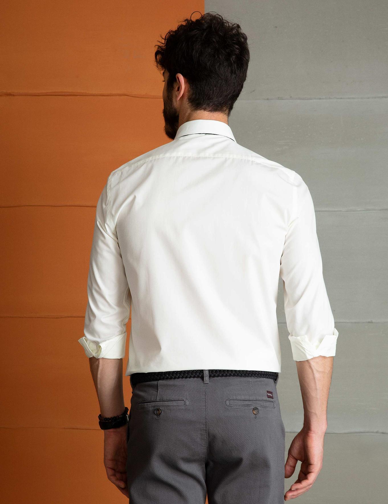 Ekru Slim Fit Basic Gömlek