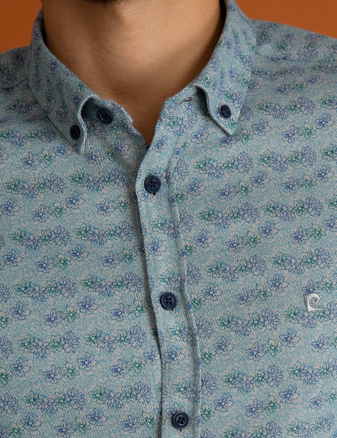 Petrol Mavi Slim Fit Gömlek