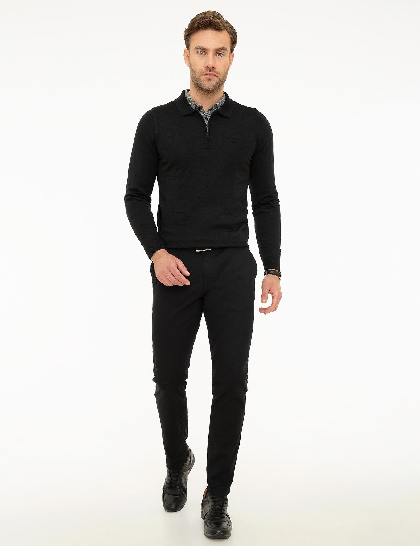 Siyah Slim Fit Basic Triko Kazak
