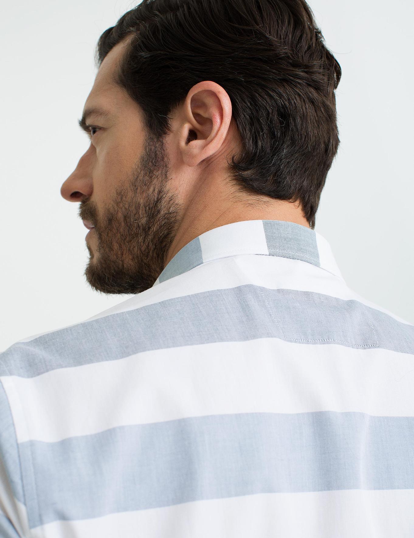 Mavi Detaylı Slim Fit Kısa Kollu Gömlek