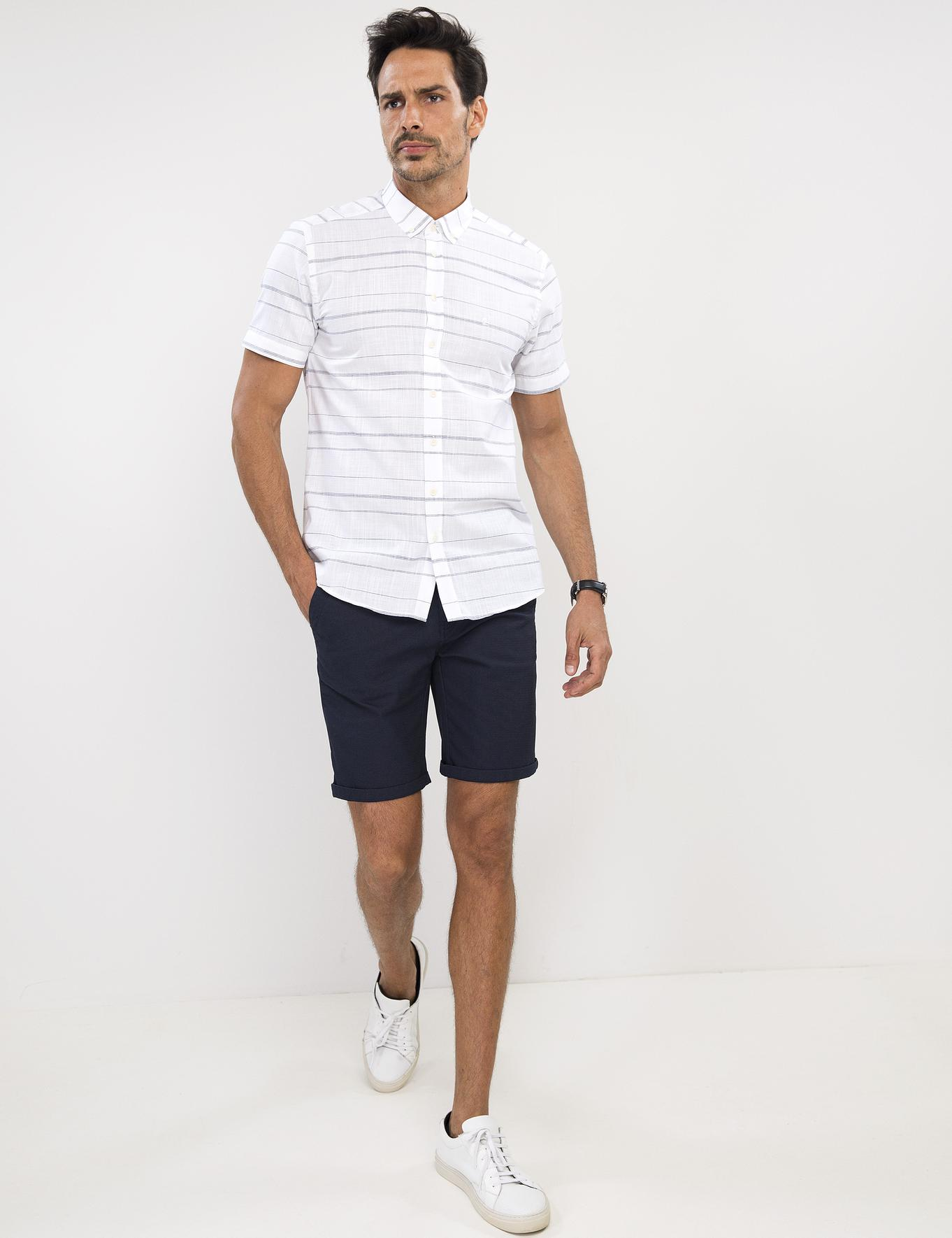 Beyaz Slim Fit Kısa Kollu Gömlek