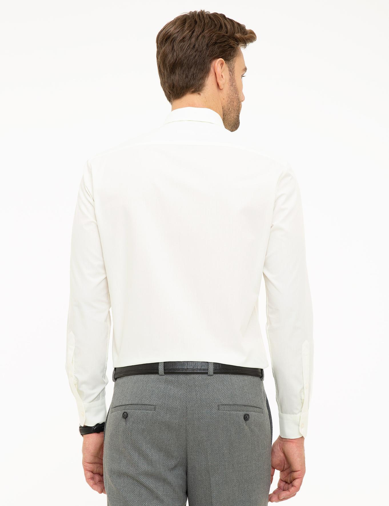 Ekru Regular Fit Basic Gömlek