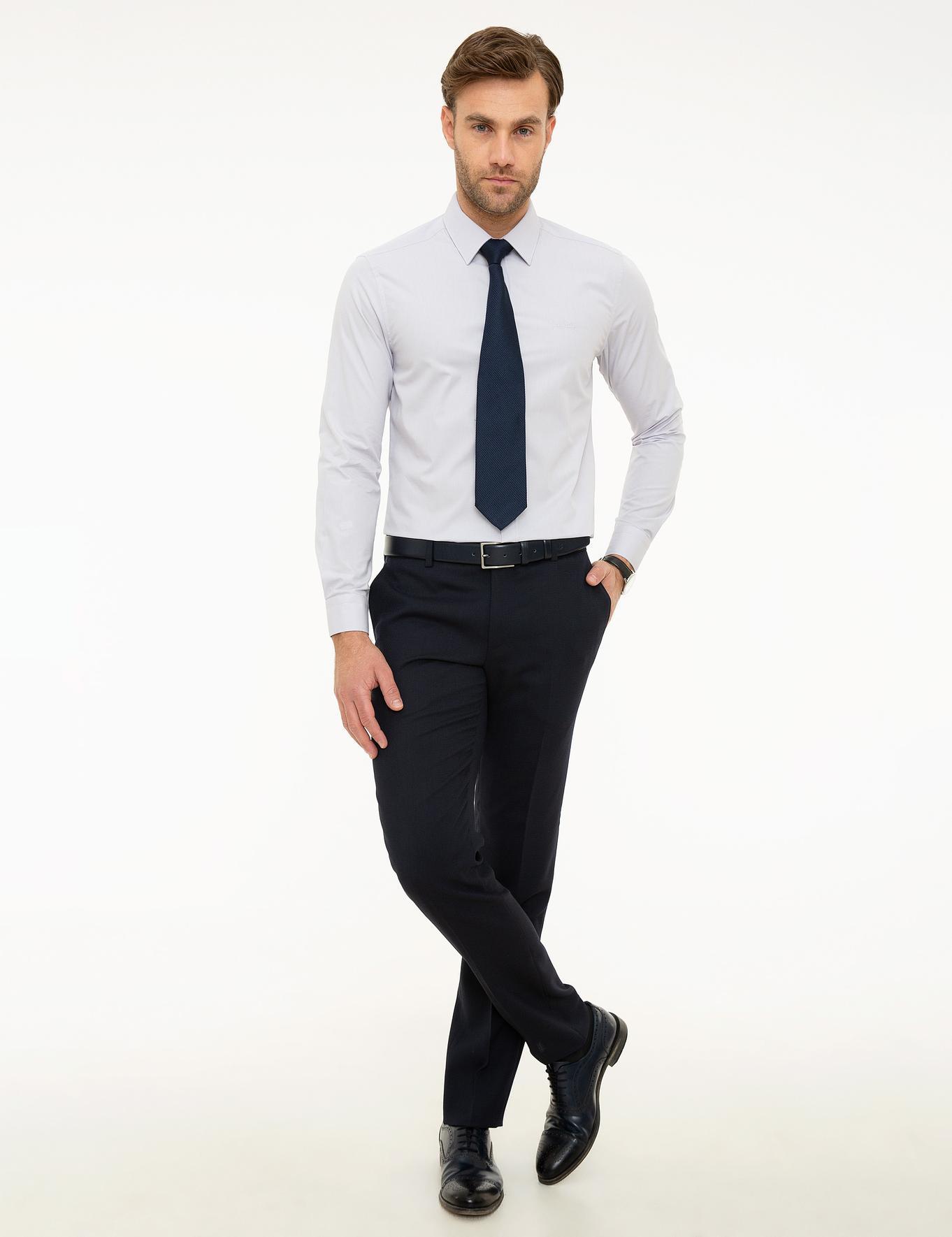 Açık Gri Slim Fit Basic Gömlek
