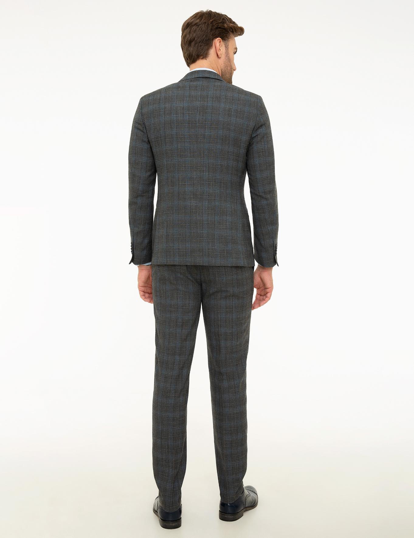 Ekose Füme Ekstra Slim Fit Takım Elbise